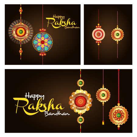 greeting cards with decorative set of rakhi for raksha bandhan, indian festival for brother and sister bonding celebration vector illustration design 일러스트