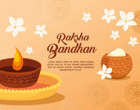 greeting card with decorative candle light and holy powder for raksha bandhan, indian festival for brother and sister bonding celebration vector illustration design