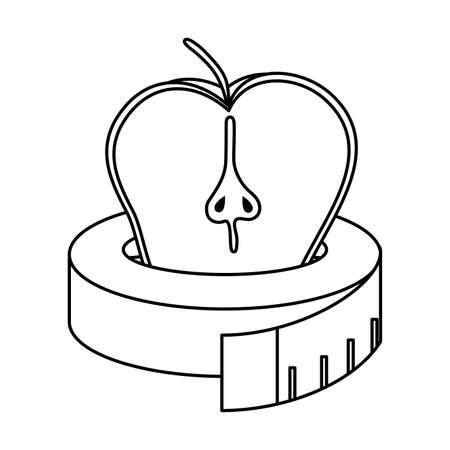 apple fresh fruit with tape measure vector illustration design