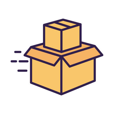 boxes carton packing postal service line and fill style vector illustration design