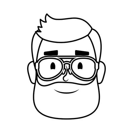 young man head with beard and eyeglasses vector illustration design Çizim
