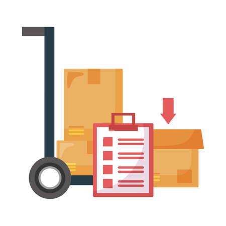 Boxes cart and document design, Safe delivery quarantine logistics and transportation theme Vector illustration