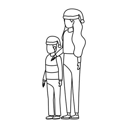 mother and son with christmas hats characters vector illustration design