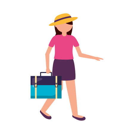 Woman with hat and bag design, Cancelled flights travel and airport theme Vector illustration