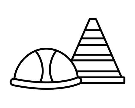 helmet and traffic cone tool construction equipment vector illustration Ilustracja