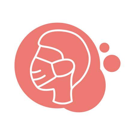 profile using face mask block style icon vector illustration design 写真素材 - 150637308