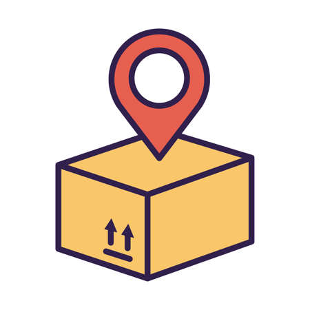 box carton packing with pin location line and fill style vector illustration design