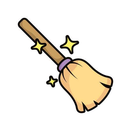 witch broom magic sorcery icon vector illustration design Ilustrace