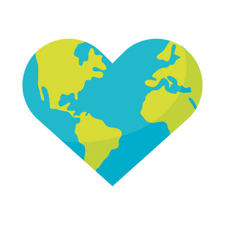 world planet earth with heart shape vector illustration design
