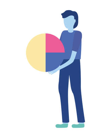 businessman holding diagram pie report vector illustration Vettoriali