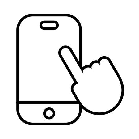 smartphone with hand touching line style vector illustration design Çizim