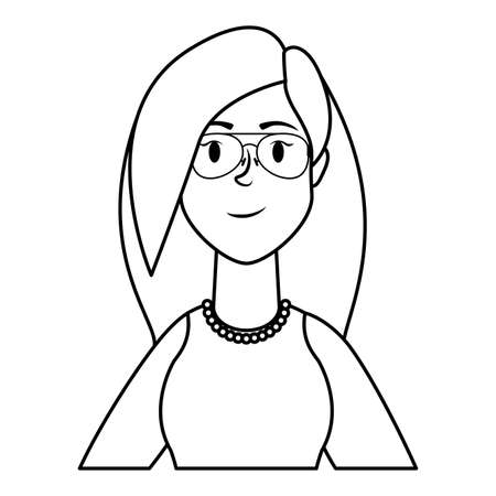 cute young woman with eyeglasses character vector illustration design Çizim