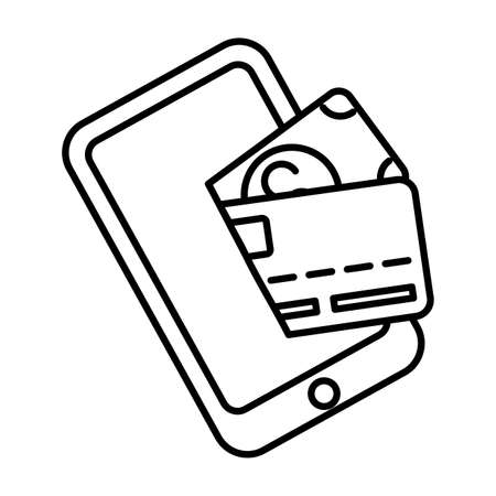 smartphone device with credit card and bill vector illustration design Illustration