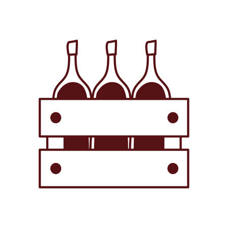 wine bottles drink in wooden basket vector illustration design