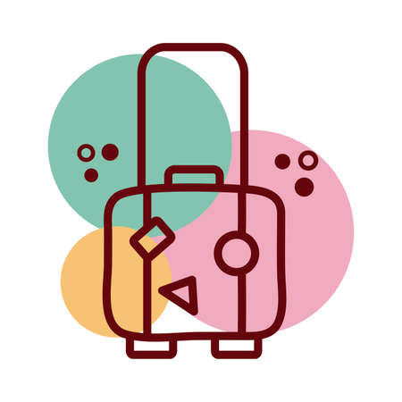 suitcase travel line and color style icon vector illustration design