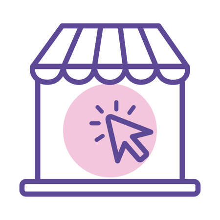 laptop computer with parasol line style icon vector illustration design Vettoriali