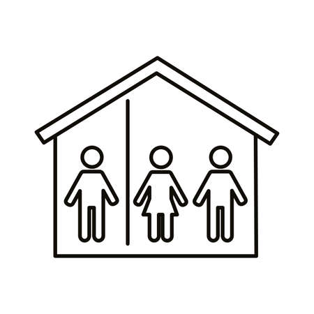 people stay at home line style icon vector illustration design 向量圖像