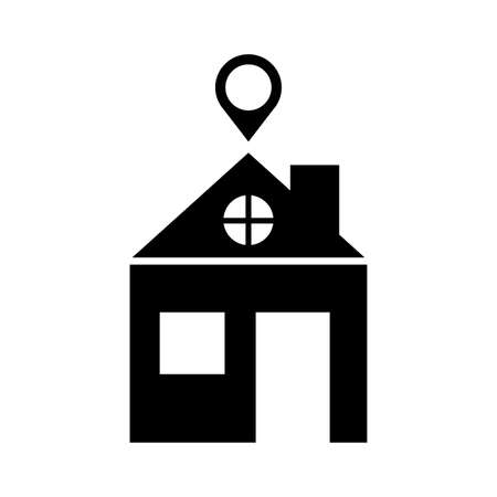 house with pin location silhouette style vector illustration design Ilustração