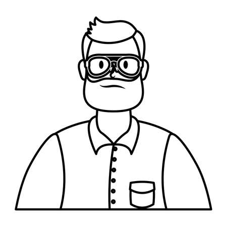 young man with beard and eyeglasses character vector illustration design Illustration