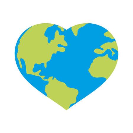 heart world planet earth ecology vector illustration design Illustration