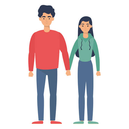 young lovers couple avatars characters vector illustration design Çizim