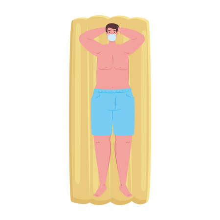 man in shorts blue color, wearing medical mask in lying down on inflatable float, covid 19 summer vacation vector illustration design