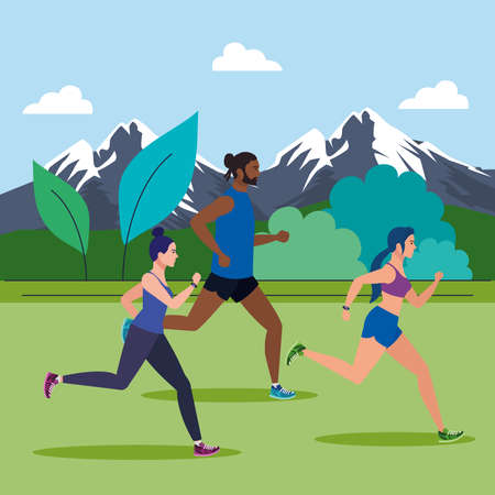 people jogging mountainous landscape, people running outdoor avatar characters vector illustration design