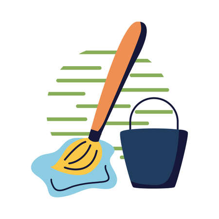 Water bucket and mop flat style icon design, Cleaning service wash home hygiene equipment domestic interior housework and housekeeping theme Vector illustration