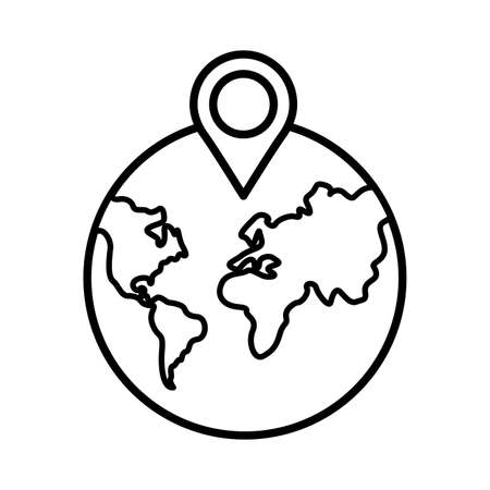 earth planet with pin pointer location line style vector illustration design