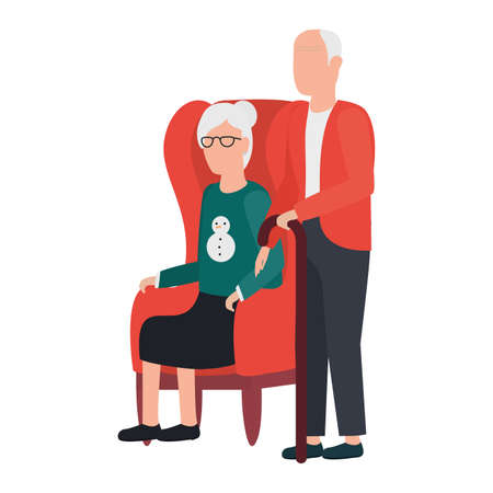grandfather and grandmother seated in sofa characters vector illustration design