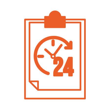 checklist clipboard with 24 hours service vector illustration design Stock Illustratie