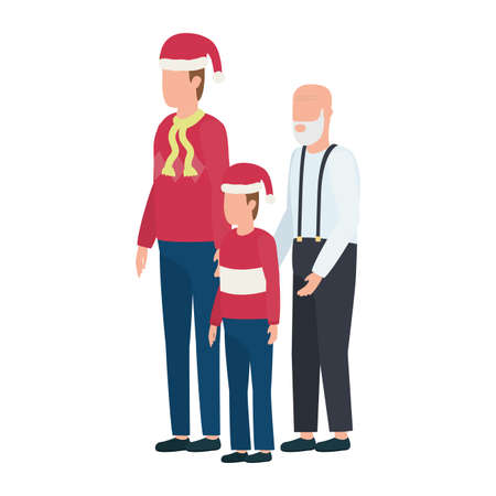 cute grandfather with young son and grandson using christmas hat vector illustration