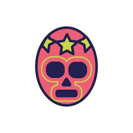 mexican mask of fighter fill style icon vector illustration design
