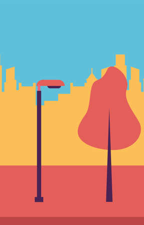 Park with tree and lamp in front of city buildings design, Nature outdoor and season theme Vector illustration