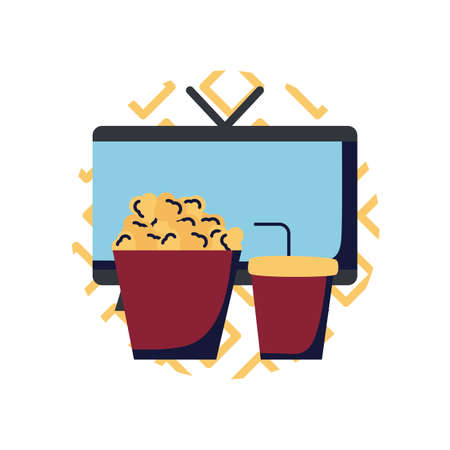 Tv pop corn and soda mug flat style icon design, Television device gadget technology electronic video screen display and home theme Vector illustration 向量圖像