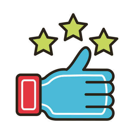 hand like with stars line and fill style vector illustration design