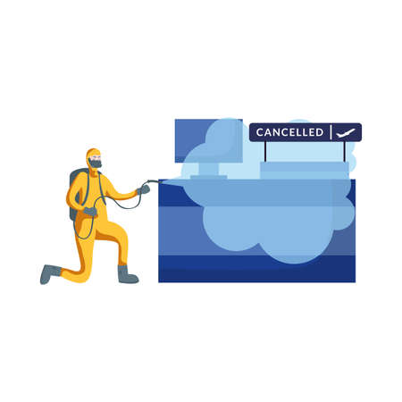 Man with protective suit spraying airport reception design, Disinfection service and clean theme Vector illustration