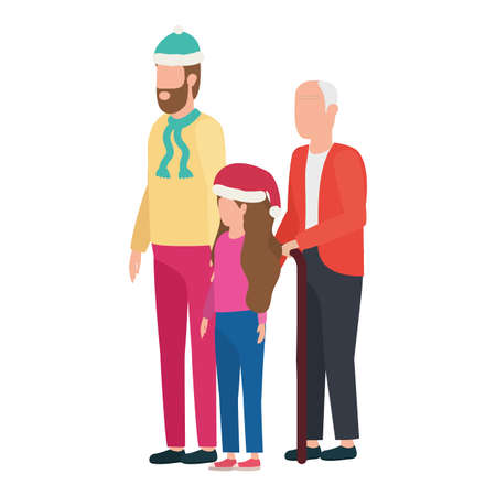 grandfather with young son and granddaughter using christmas hat vector design