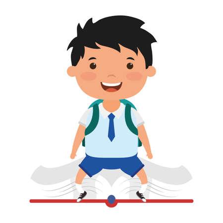 cute little student boy seated in book character vector illustration design Ilustração