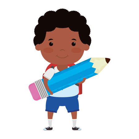cute little afro student boy with pencil character vector illustration design