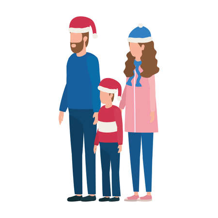 parents couple and son with christmas hats characters vector illustration design Ilustração