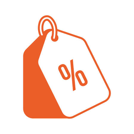 tag with percent symbol icon vector illustration design