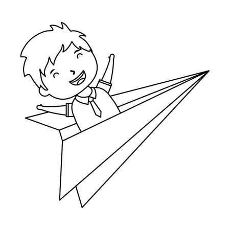 cute little student boy in paper airplane vector illustration design Ilustração