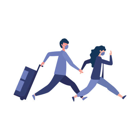 Man and woman with medical mask and bag design, Cancelled flights travel and airport theme Vector illustration