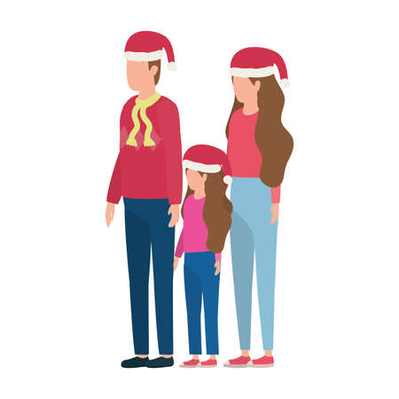 parents couple and daughter with christmas hats characters vector illustration design