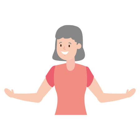 woman adult character on white background vector illustration Ilustrace