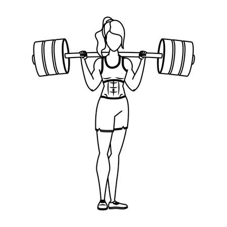 young woman athlete weight lifting vector illustration design
