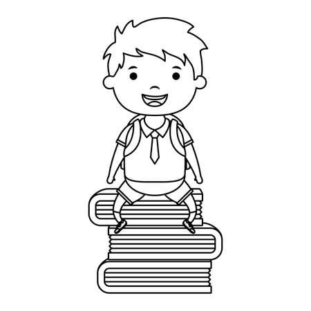 cute little student boy seated in books character vector illustration design Ilustração