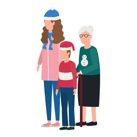 grandmother with daughter and grandson using christmas hat vector illustration