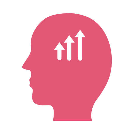 profile with arrows up mental health silhouette style icon vector illustration design Ilustração
